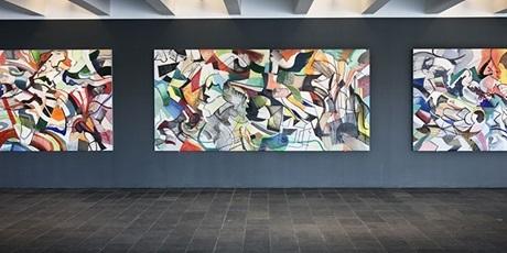 Del af vægfrise i vandrehallen på DTU, udført af kunstneren Lars Nørgaard.